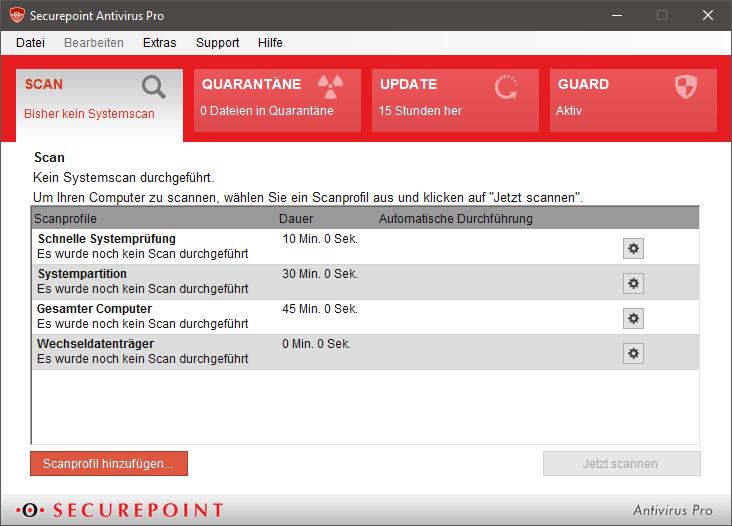 Benutzeroberfläche Antivirus Pro